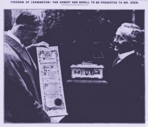 H E Cox, Illuminated address To Mr A Eden, L S Courier