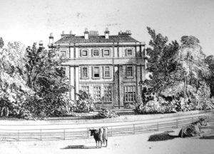 Front view of Shrubland Hall built in 1822. The Hall was demolished in the 1930s and a housing estate built on the land.
