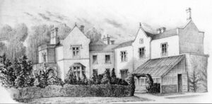 An engraving of the house called Denby Villa which was demolished to make way for the new town hall