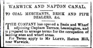 Advertisement for a new wharf at Clapham Terrace about 1889 Sydenham History Group