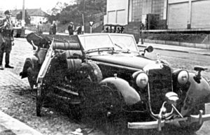 A photograph taken by the Gestapo of Heydrich's Mercedes staff car wrecked by the bomb thrown by Jan Kubis