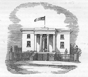 An engraving of the first town hall in High Street circa 1840
