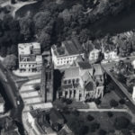 1970s: Aerial picture of church, postoffice, new sorting office and some houses