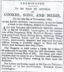 The advert which appeared in the local paper for the auction of no. 21.