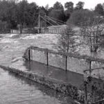 1932: the river has been flooded. The picture was taken from the foot of the Elephant Wash on Priory Terrace.