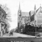 1870 - 1880: view from the end of Priory Terrace, showing All Saints Church and the Post Office. A bath chair and a small pony trap are also visible.