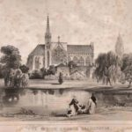 about 1855: All Saints Parish Church behind the Priory. Priory Terrace now runs between the two buildings.