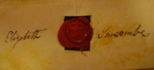 The signature of Elizabeth Surcombe the elder from the indenture of leasehold purchase of no. 21 in 1827