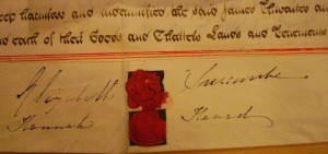 The signatures of Elizabeth Surcombe the younger and Hannah Heard from the indenture of lease of 18 March 1834 after James Hill purchased the property.