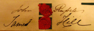 James Hill's signature from the indenture of lease of number 21 between him and Elizabeth Surcombe and Hannah Heard 1834. John Russell was one of the trustees of the estate.