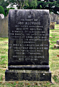 Job Allwood's headstone in Leamington cemetery