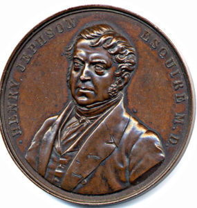 This medallion showing the bust of Henry Jephson, was sold to mark the opening of Jephson Gardens in May 1848. The reverse shows Beech Lawn
