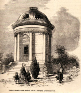 The Temple in Jephson Gardens, containing a larger-than-life marble statue of Jephson sculpted by Peter Hollins