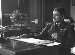 Frank Whittle at his desk