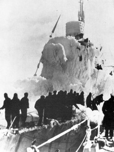 North Atlantic.  Winter 1943. The ice-laden HMS Leamington arrives at St Johns Newfoundland