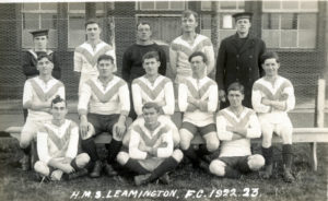 The football team of the original HMS Leamington photographed in 1923