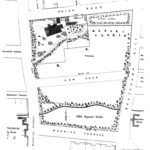 Plan of Comber House and grounds from the 1880 Particulars of Sale. North is to the right. The new road will be Albany Terrace. The present Dell is the strip at the bottom of the plan. (Leamington Library)