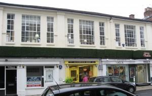 Tavistock Street Chapel Rooms, with shops below