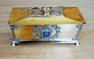 The silver-gilt casket containing his Leamington freedom scroll