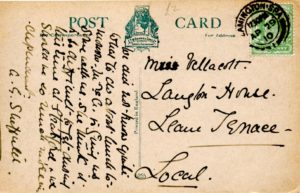 Postcard addressed to Miss Vellacott (M Rushton)