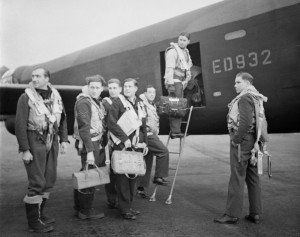 Official photograph of Guy Gibson (on steps) and crew taking off for Operation Chastise, copyright IWM