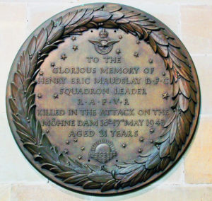 Bronze memorial Plaque to H E M in Sherbourne Church, courtesy of Mike Cox
