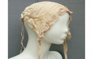 A cotton lacy cap of a type often worn indoors by married women in Victorian times - one of the items found in the cache.