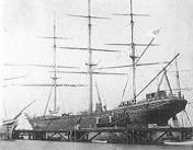 The CSS Shenandoah flying the Confederate flag, photographed in Melbourne, Australia in February 1865