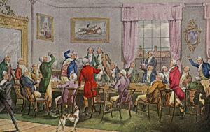 Hunting men at table