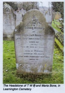 Headstone of TWB & Maria Bone, Leamington Cemetery, © History@bathplace