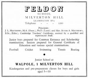 Feldon School advertisement, © Leamington Spa Town Guide 1952