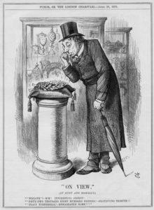 1879 Punch cartoon showing Disraeli examining the Turnerelli wreath
