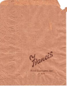 1970s Francis' Haberdashery Dept paper bag