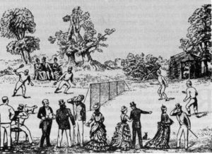 Harry Gem's sketch of the first game of lawn tennis played on the Manor House lawns in 1872