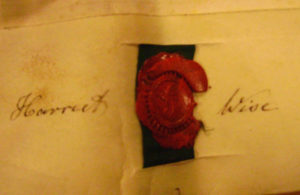 Harriet Wise's signature from the indenture of purchase of 21 Bath Street by Elizabeth Surcombe. Matthew jnr's signature from the same document is at the top of this page.