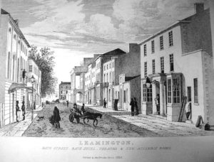 A picture of Bath Street in 1822 as Elizabeth Surcombe the elder would have known it. Her premises are not visible but were on the far right end of the street beyond the columns of the Parthenon.