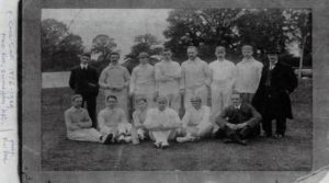 Leamington Cricket Club around the turn of last century. F Cecil Smith 2nd left, front row. Original photo by F W Veal of Clapham Terrace, courtesy of Kit Smith