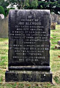 Job Allwood's headstone in Leamington cemetery