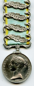 A Crimean medal with clasps for the four major engagements in which Job Allwood took part