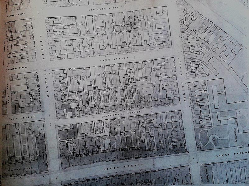 Back-to-Back Houses in the Satchwell, Park and Kenilworth Streets slums behind Upper Parade, Royal Leamington Spa 1852