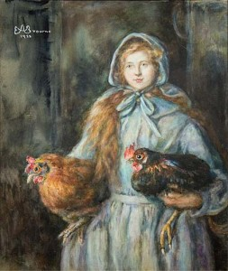 Miss E A Browne, Girl with Fowls Leamington Spa Art Gallery and Museum