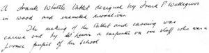 Inscription by F.P. Wallsgrove