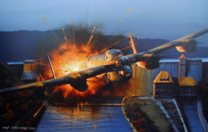 Maudslay's bomb striking the parapet of the Dam Copyright Ivan Berryman, courtesy of the artist