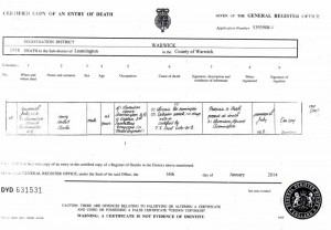 Copy of Death Certificate, D Eason