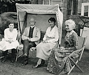 Sam and Harriett with friends, probably in the garden at 42 Warwick New Road where they lived in later life.