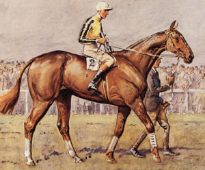 A National candidate, 1932 painting of horse & jockey in the parade ring