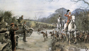 The season painted 1940 shows the Master of a hunt returning the salute from an Army Officer