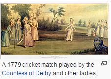 Lady Cricketers in 1779 © Wikipedia