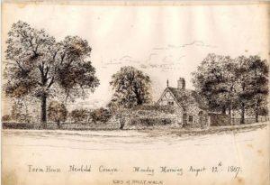 W Colliss: Farmhouse, Newbold Comyn. © Windows on Warwickshire