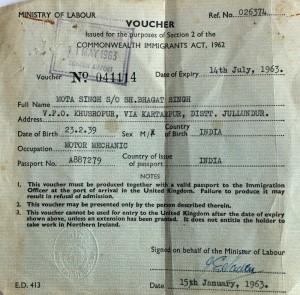 Mota's Immigration Voucher © Mota Singh